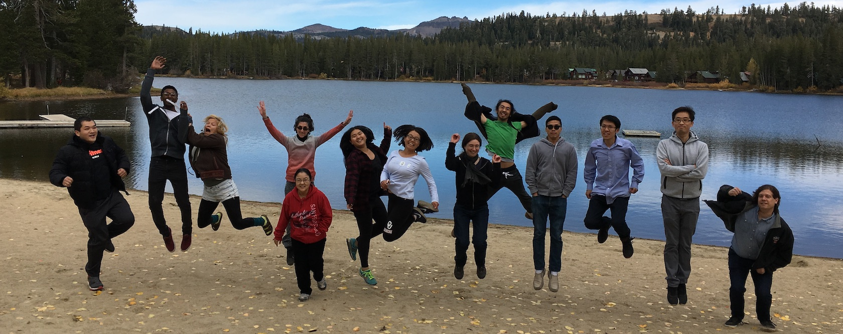 Celebrating our first lab retreat to Lake Tahoe in 2018. Image credit: Sue Rhee